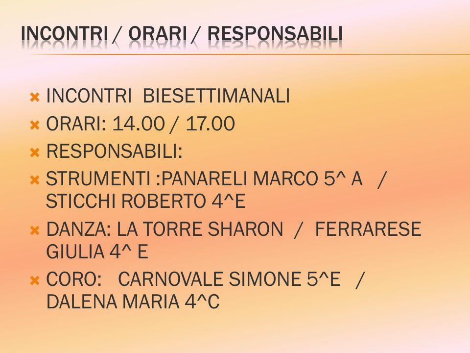 INCONTRI / ORARI / RESPONSABILI