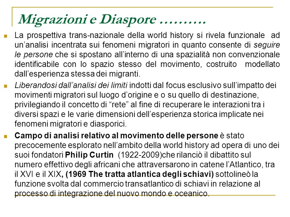 Migrazioni e Diaspore ……….