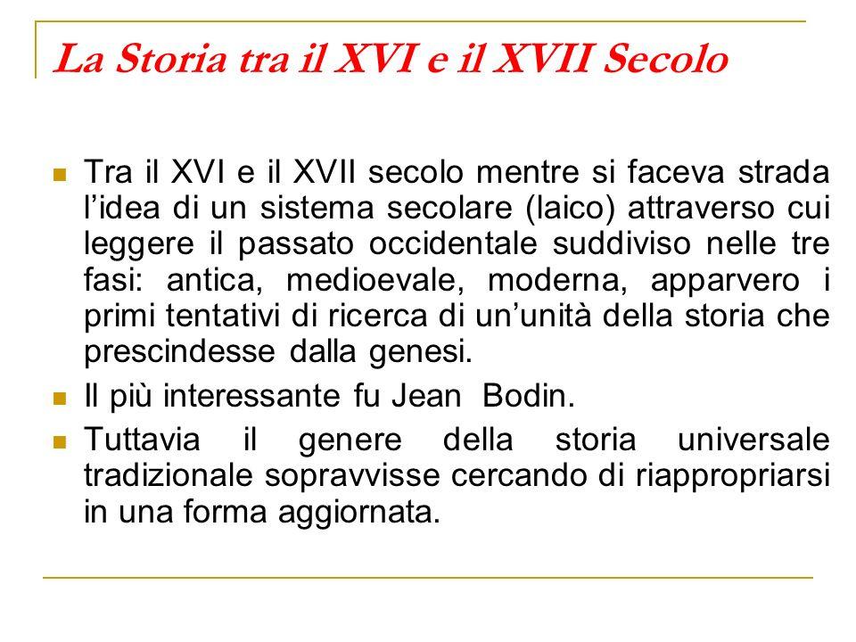 La Storia tra il XVI e il XVII Secolo