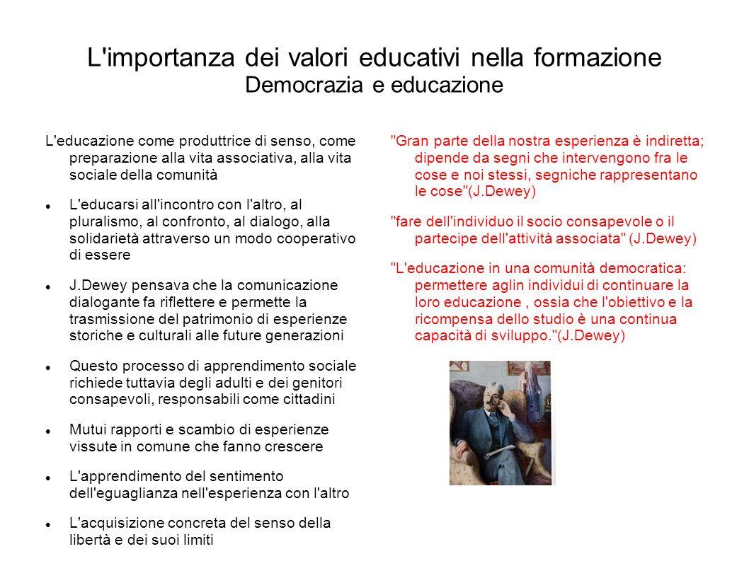 L importanza dei valori educativi nella formazione Democrazia e educazione