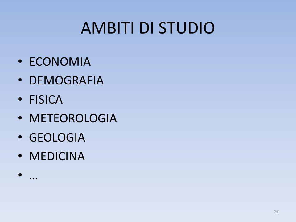 AMBITI DI STUDIO ECONOMIA DEMOGRAFIA FISICA METEOROLOGIA GEOLOGIA