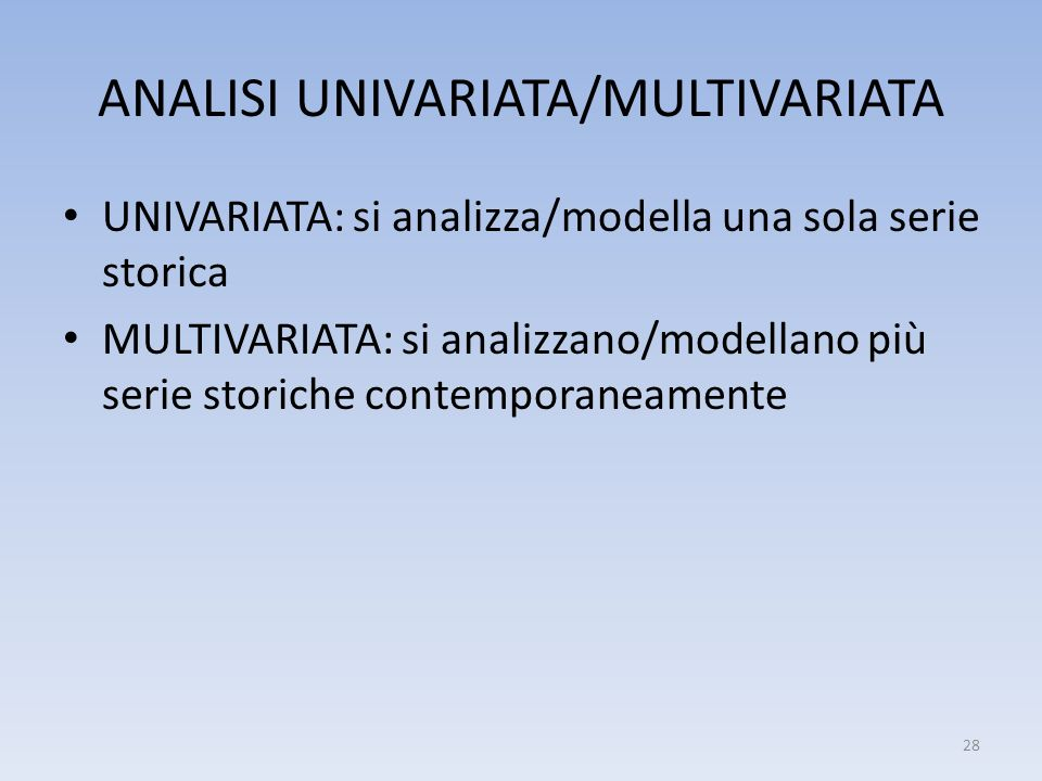 ANALISI UNIVARIATA/MULTIVARIATA