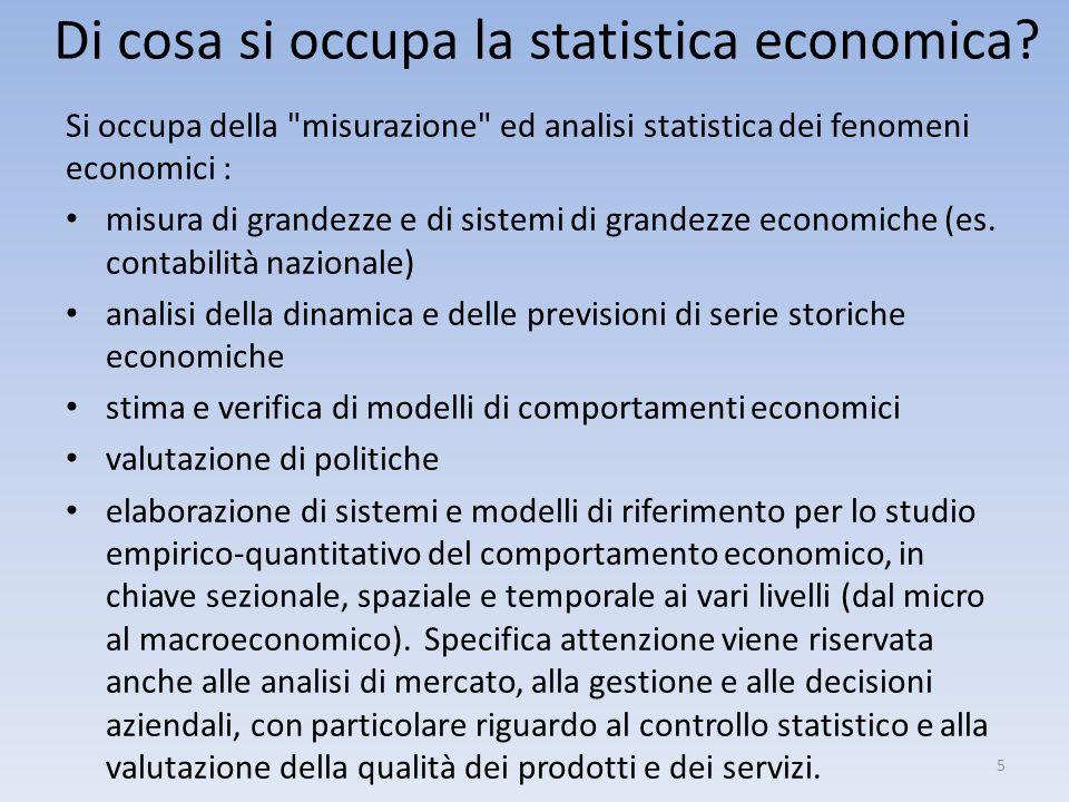 Di cosa si occupa la statistica economica