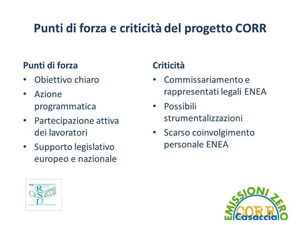 Punti di forza e criticità del progetto CORR