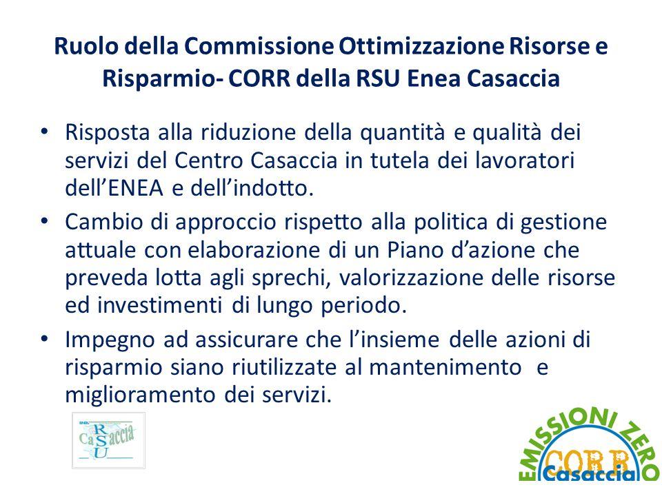 Ruolo della Commissione Ottimizzazione Risorse e Risparmio- CORR della RSU Enea Casaccia