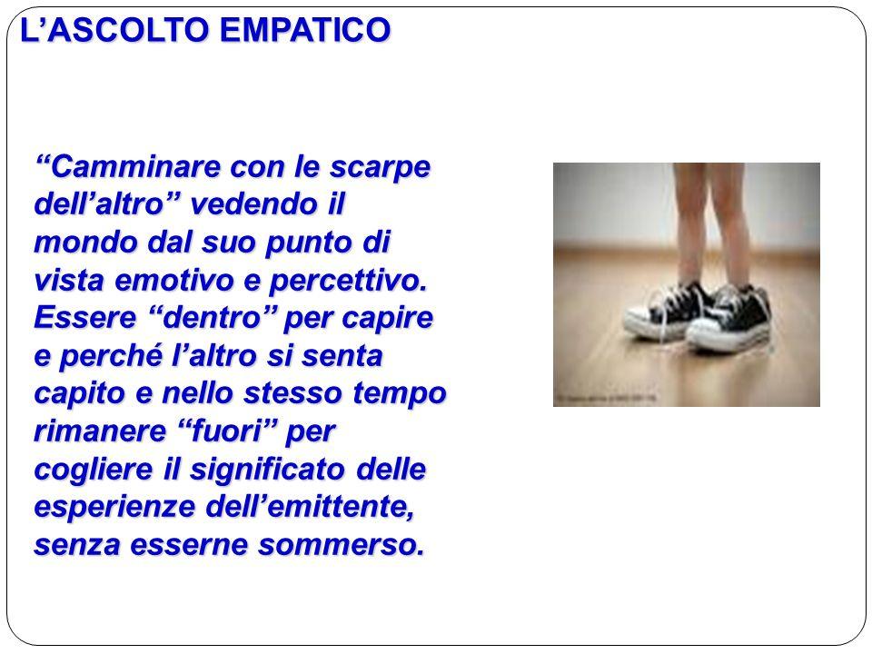 L'ASCOLTO EMPATICO Camminare con le scarpe dell'altro vedendo il mondo dal suo punto di vista emotivo e percettivo.