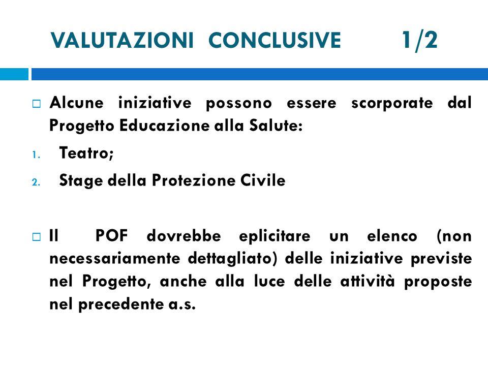 VALUTAZIONI CONCLUSIVE 1/2