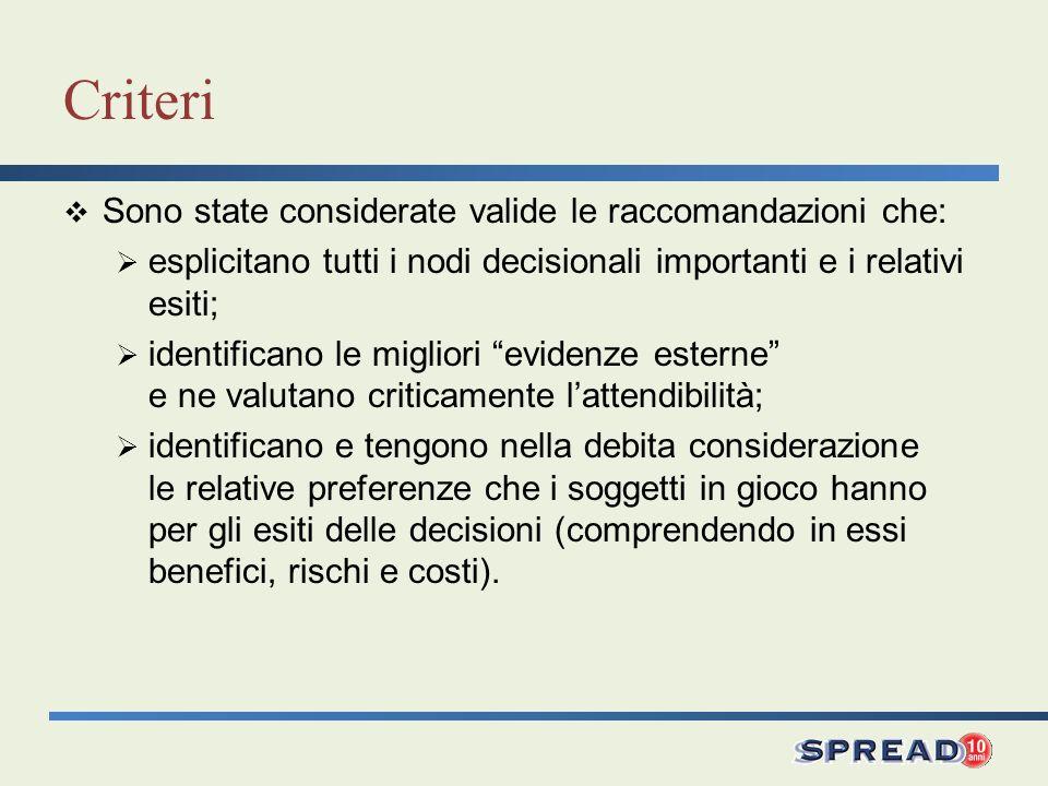 Criteri Sono state considerate valide le raccomandazioni che: