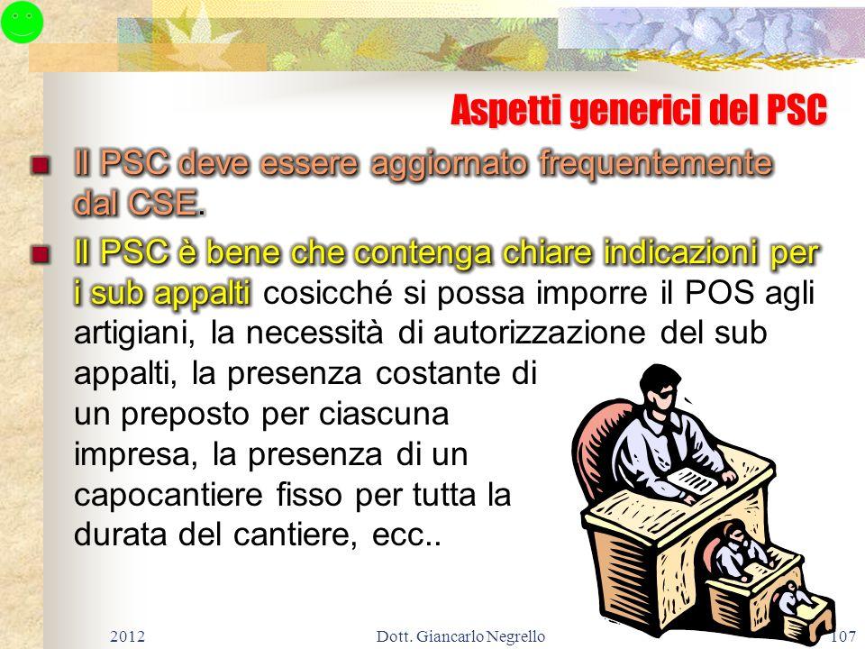 Aspetti generici del PSC