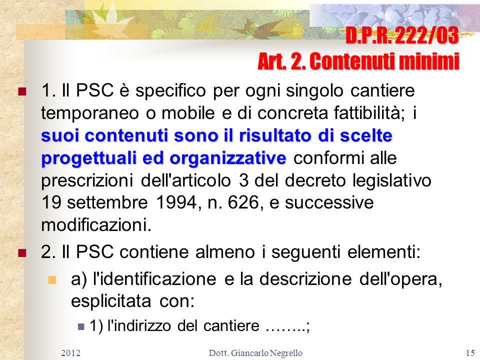 D.P.R. 222/03 Art. 2. Contenuti minimi