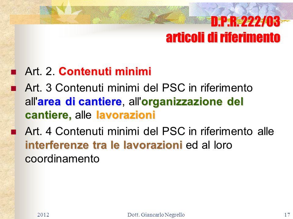 D.P.R. 222/03 articoli di riferimento
