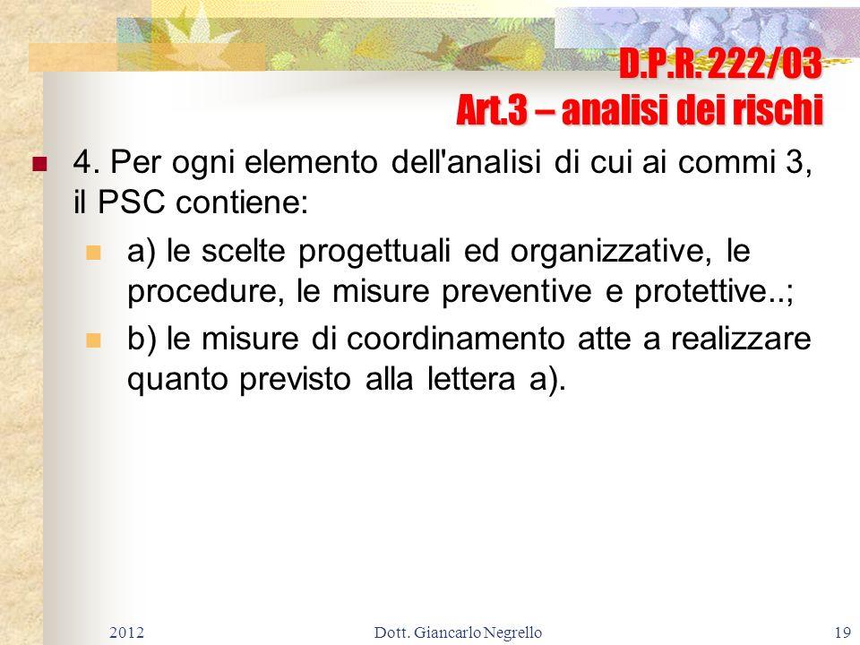 D.P.R. 222/03 Art.3 – analisi dei rischi