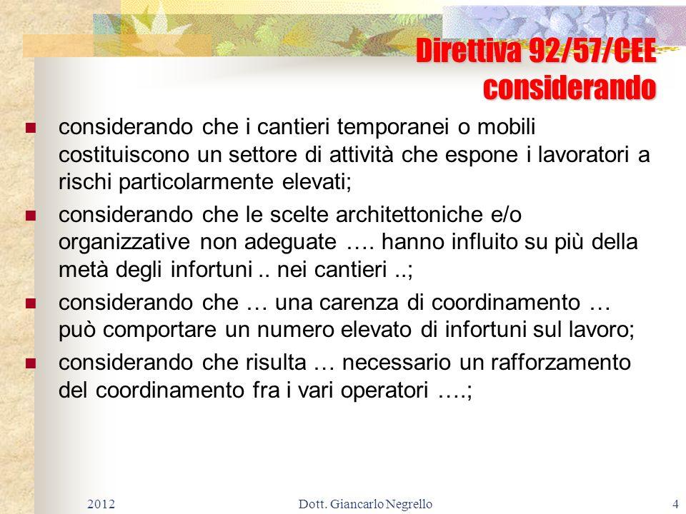 Direttiva 92/57/CEE considerando