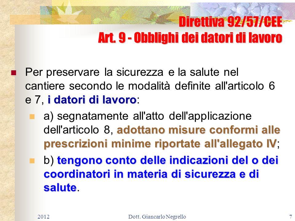 Direttiva 92/57/CEE Art. 9 - Obblighi dei datori di lavoro