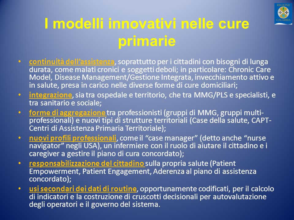 I modelli innovativi nelle cure primarie