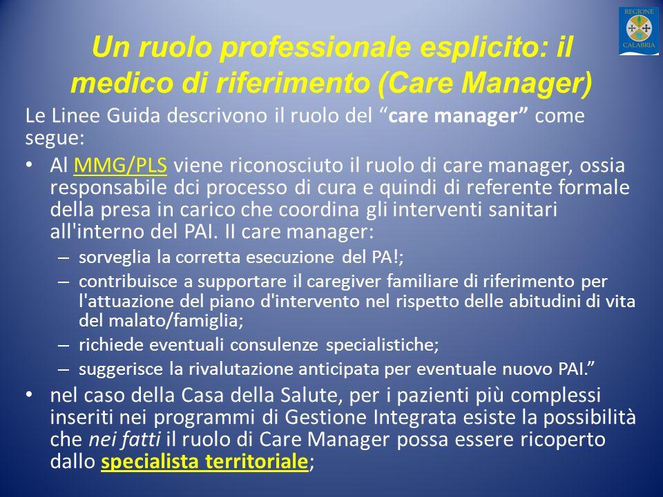 Un ruolo professionale esplicito: il medico di riferimento (Care Manager)
