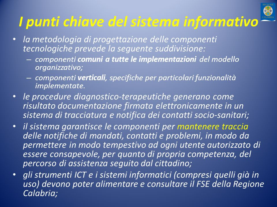 I punti chiave del sistema informativo