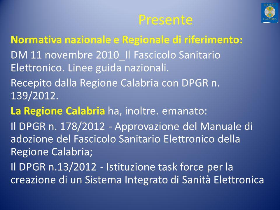 Presente Normativa nazionale e Regionale di riferimento:
