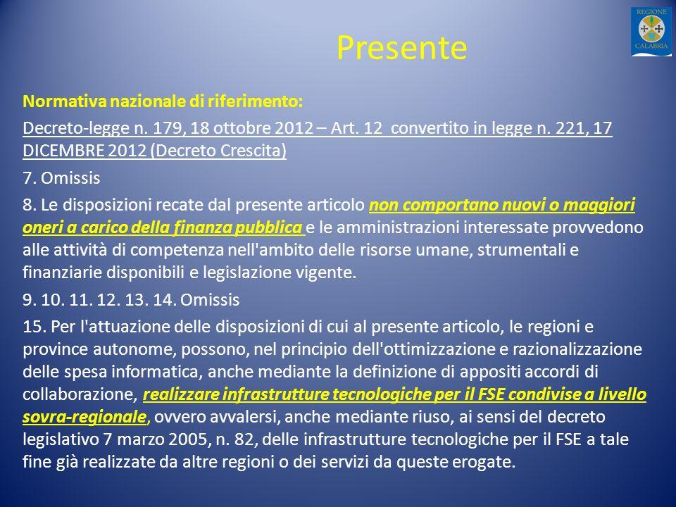 Presente Normativa nazionale di riferimento: