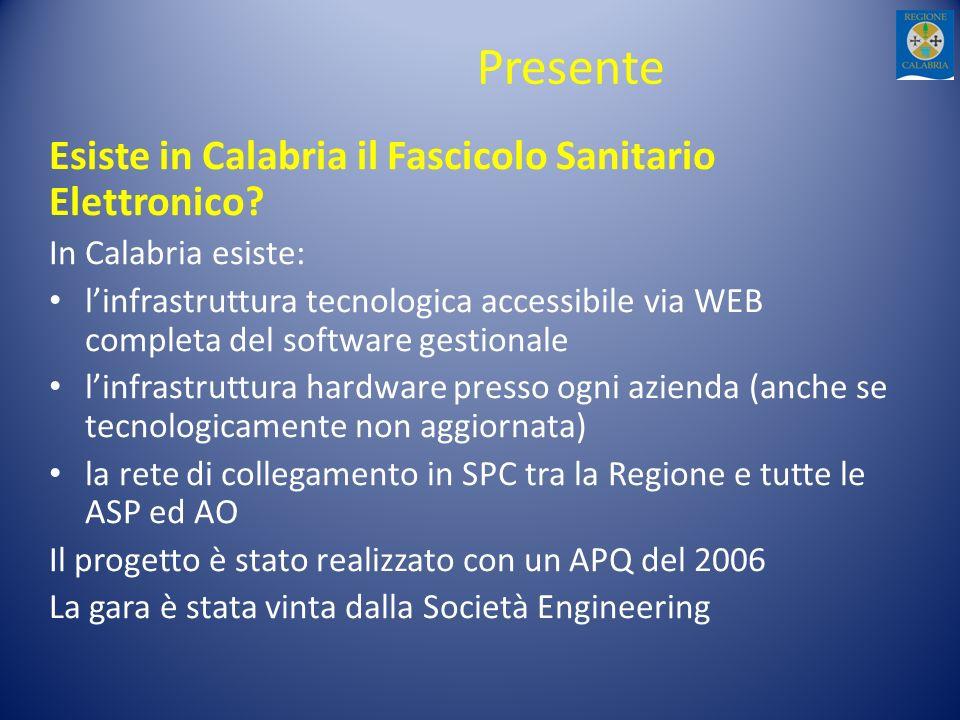 Presente Esiste in Calabria il Fascicolo Sanitario Elettronico