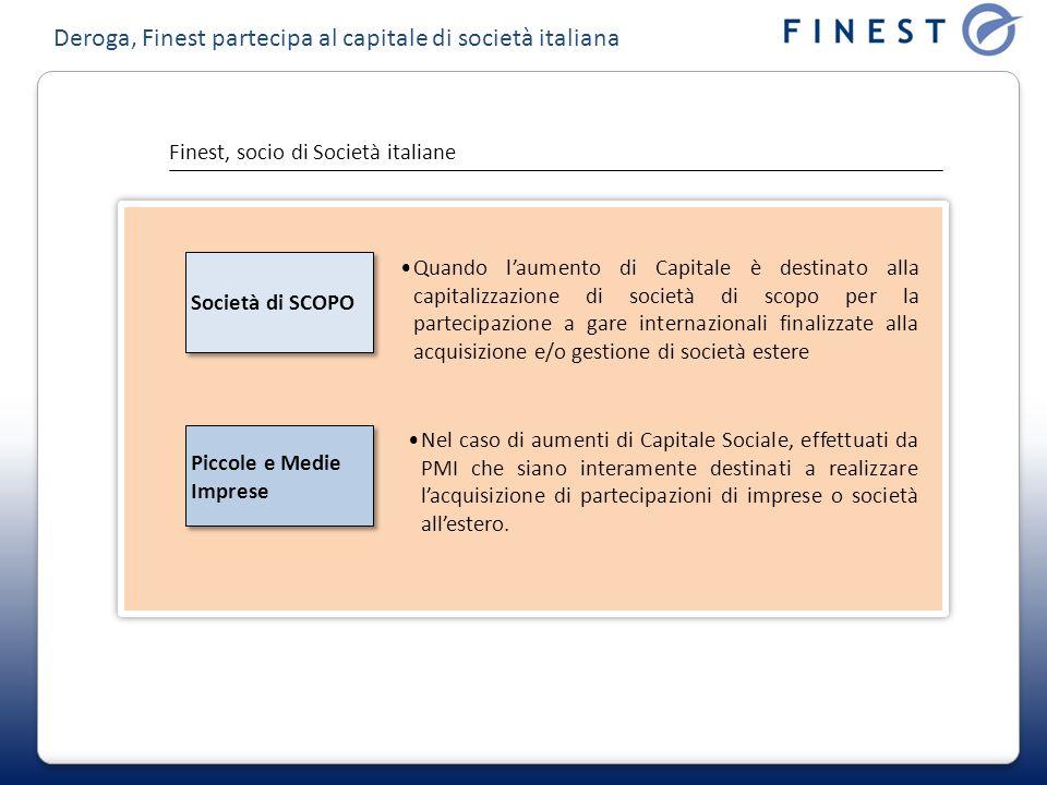 Deroga, Finest partecipa al capitale di società italiana