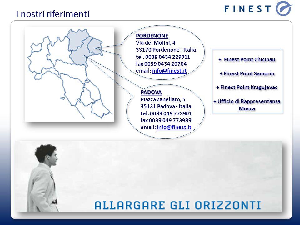 I nostri riferimenti PORDENONE Via dei Molini, 4 33170 Pordenone - Italia tel. 0039 0434 229811 fax 0039 0434 20704 email: info@finest.it.