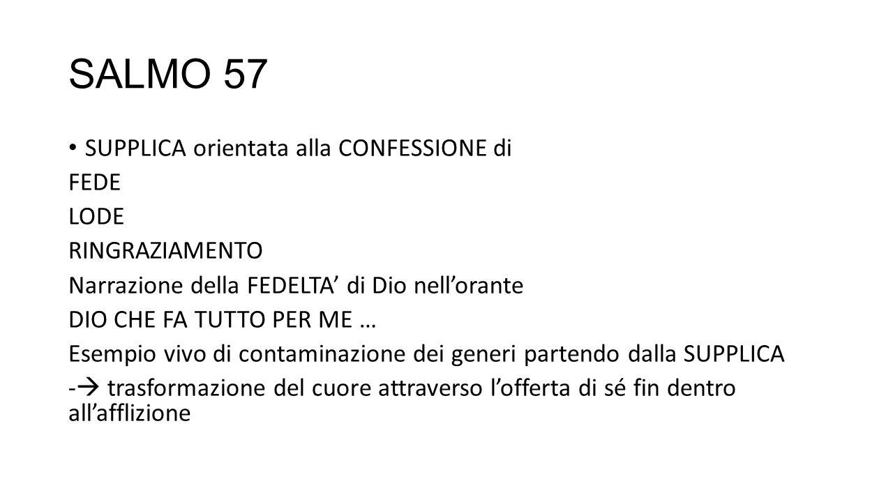 SALMO 57 SUPPLICA orientata alla CONFESSIONE di FEDE LODE