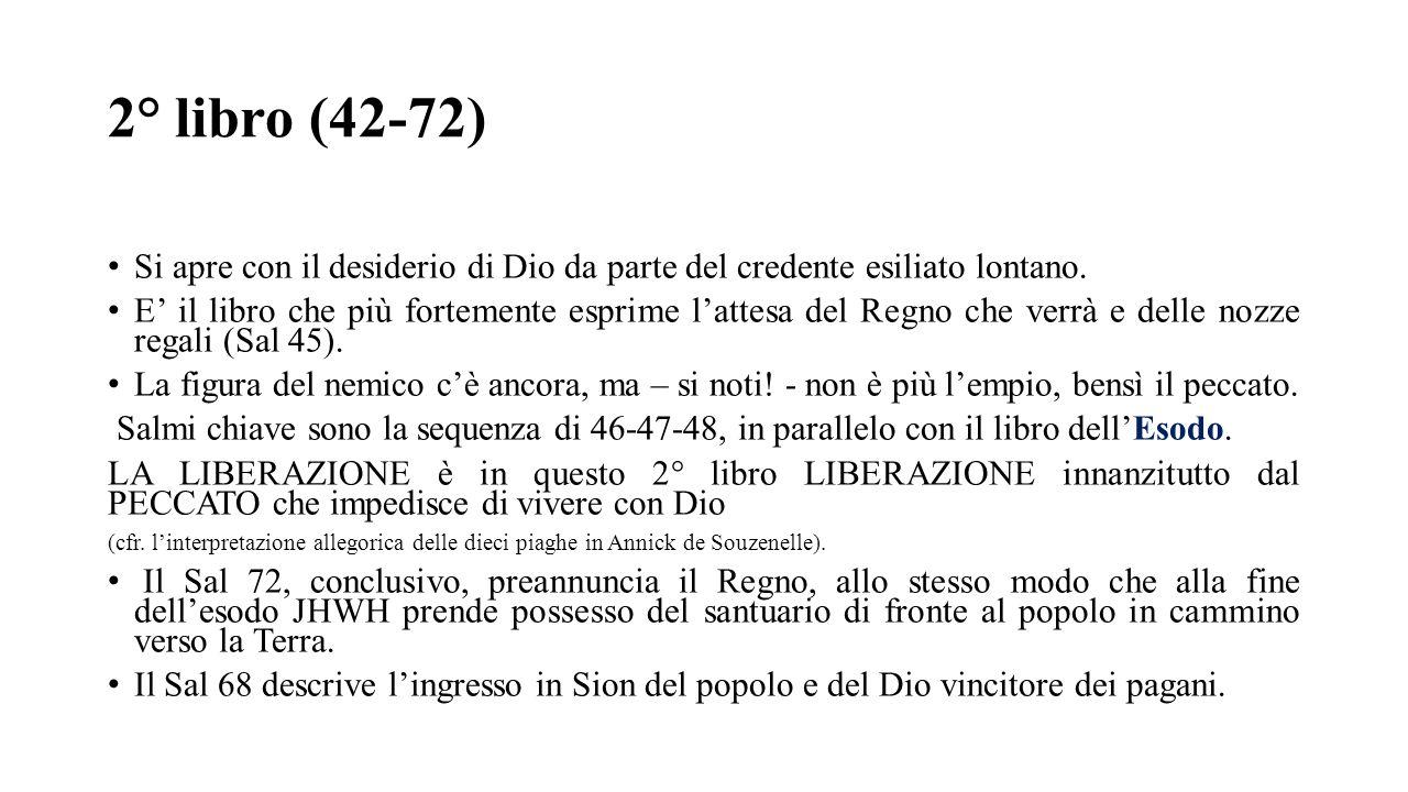 2° libro (42-72) Si apre con il desiderio di Dio da parte del credente esiliato lontano.