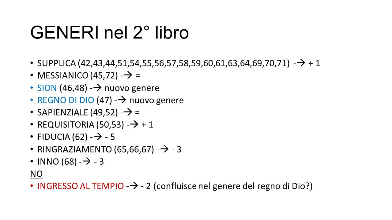 GENERI nel 2° libro SUPPLICA (42,43,44,51,54,55,56,57,58,59,60,61,63,64,69,70,71) - + 1. MESSIANICO (45,72) - =