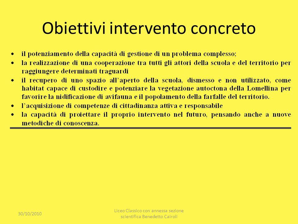 Obiettivi intervento concreto