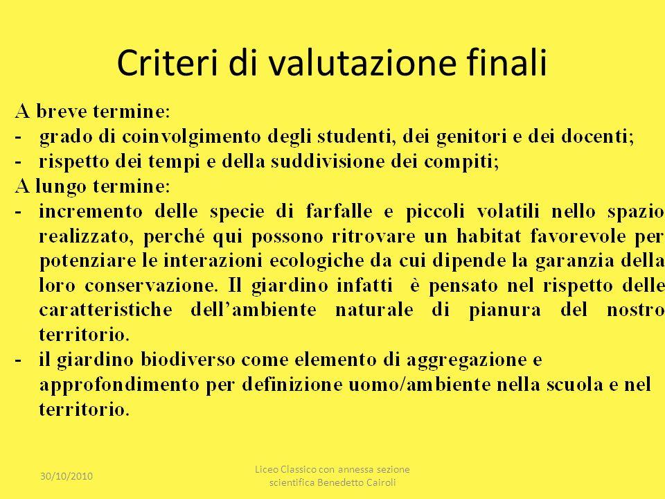 Criteri di valutazione finali
