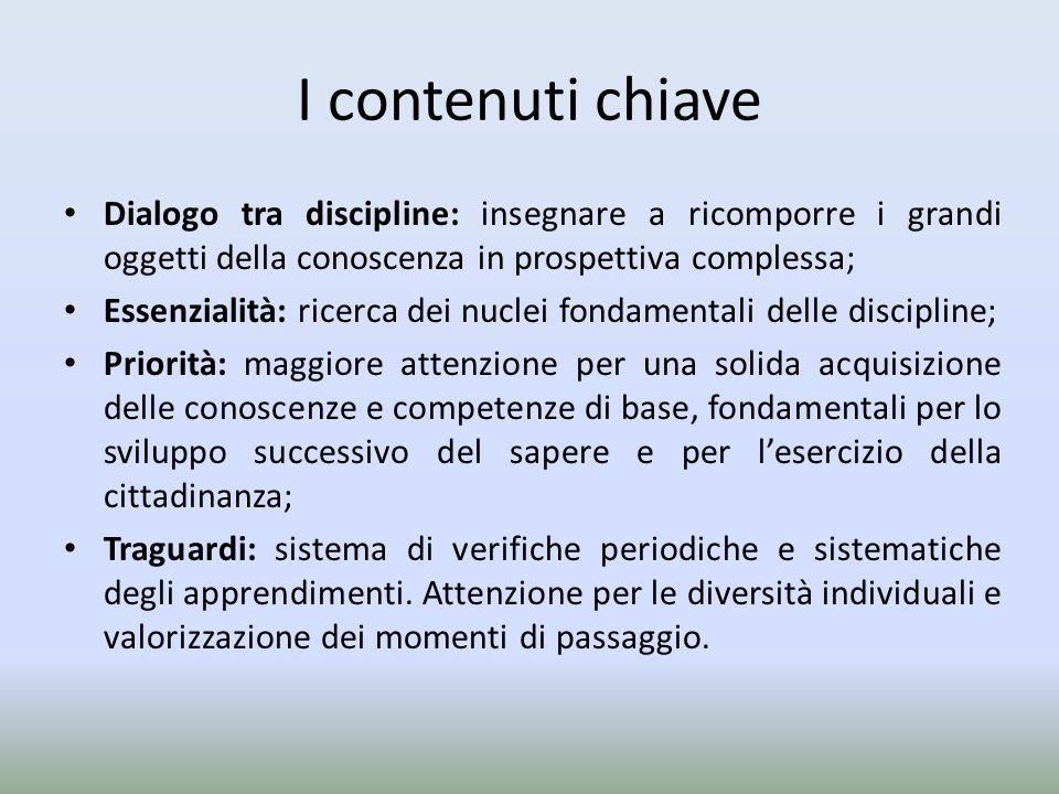 I contenuti chiaveDialogo tra discipline: insegnare a ricomporre i grandi oggetti della conoscenza in prospettiva complessa;