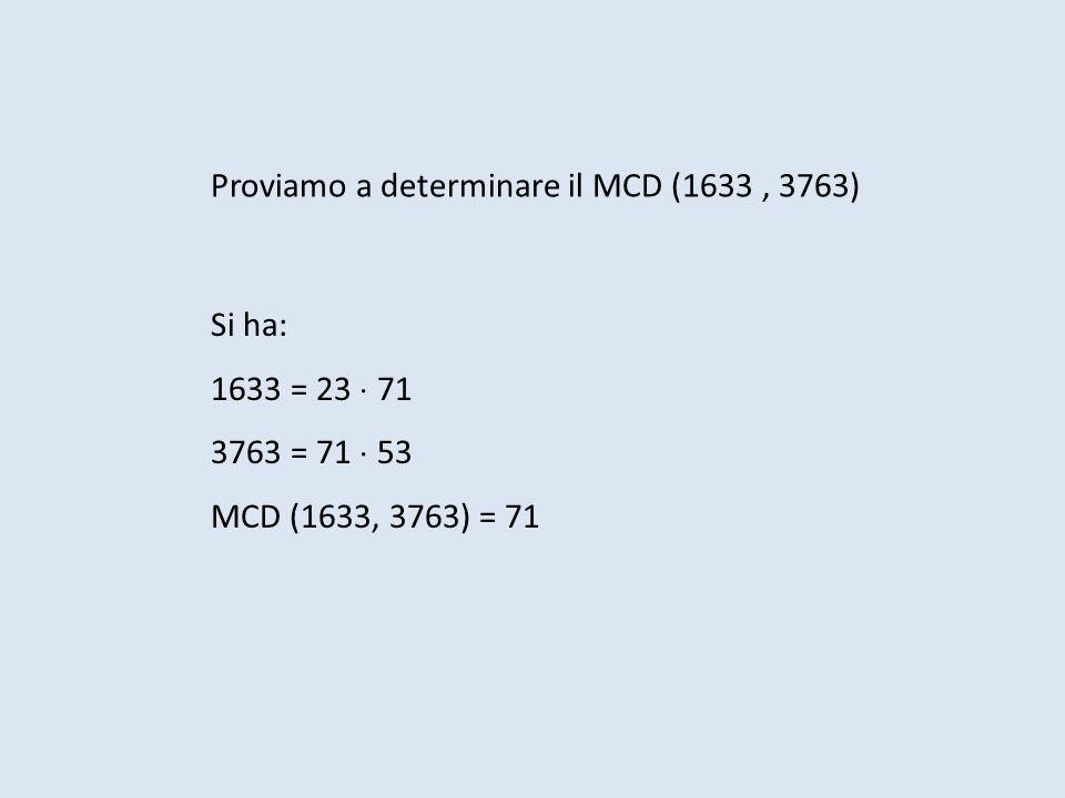 Proviamo a determinare il MCD (1633 , 3763)