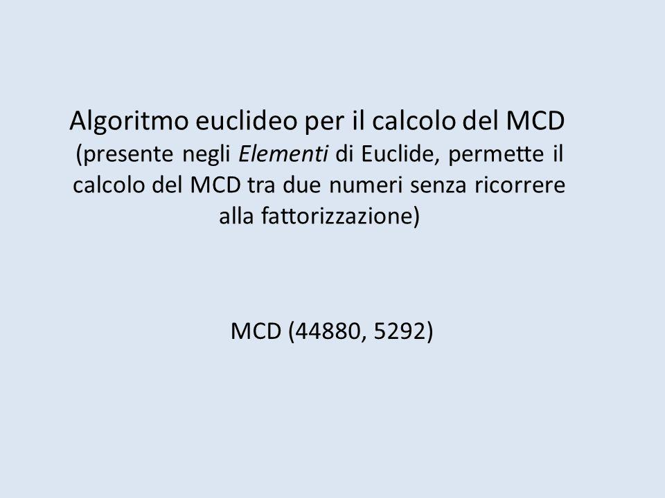 Algoritmo euclideo per il calcolo del MCD