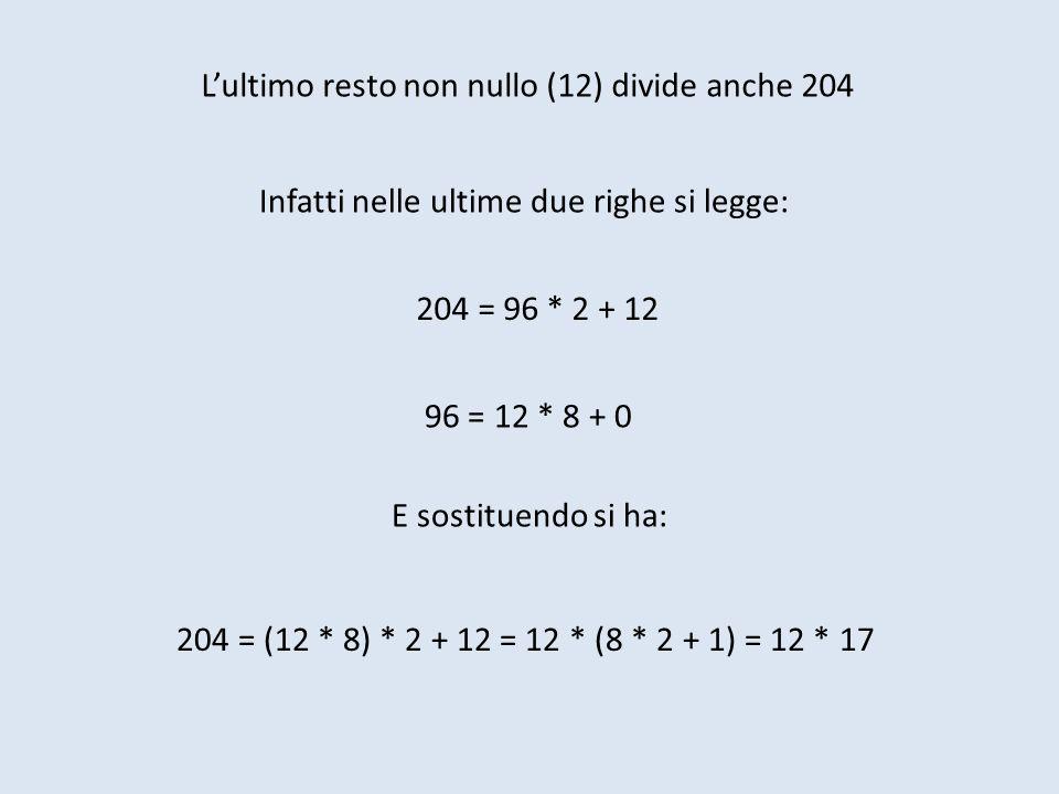 L'ultimo resto non nullo (12) divide anche 204