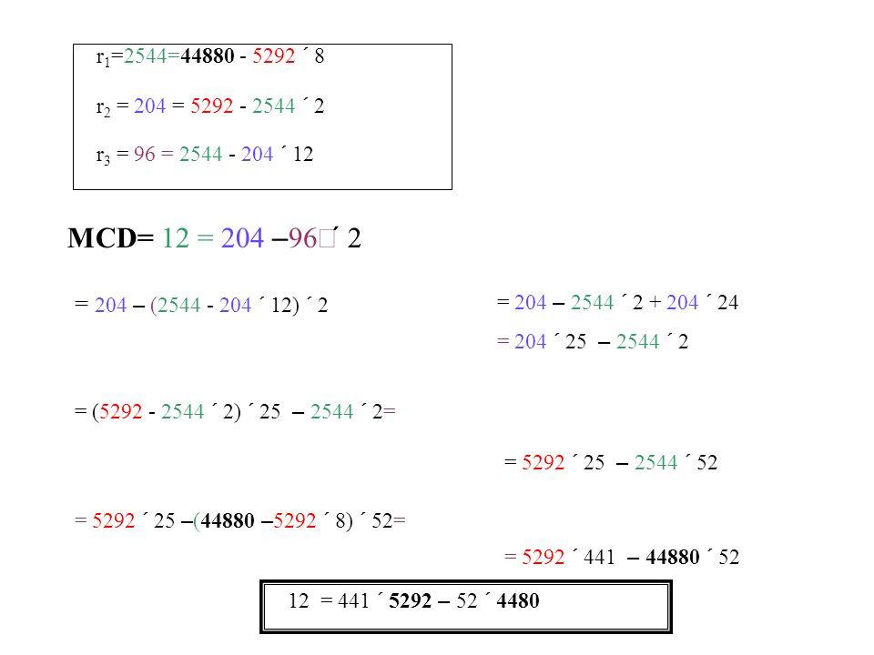 r1=2544=44880 - 5292 ´ 8 r2 = 204 = 5292 - 2544 ´ 2. r3 = 96 = 2544 - 204 ´ 12. MCD= 12 = 204 –96´2.