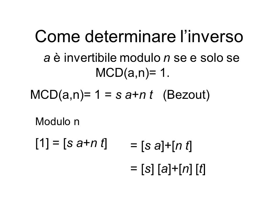 Come determinare l'inverso