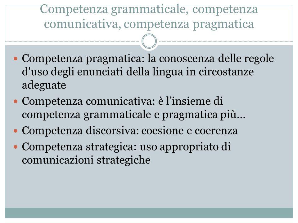 Competenza grammaticale, competenza comunicativa, competenza pragmatica