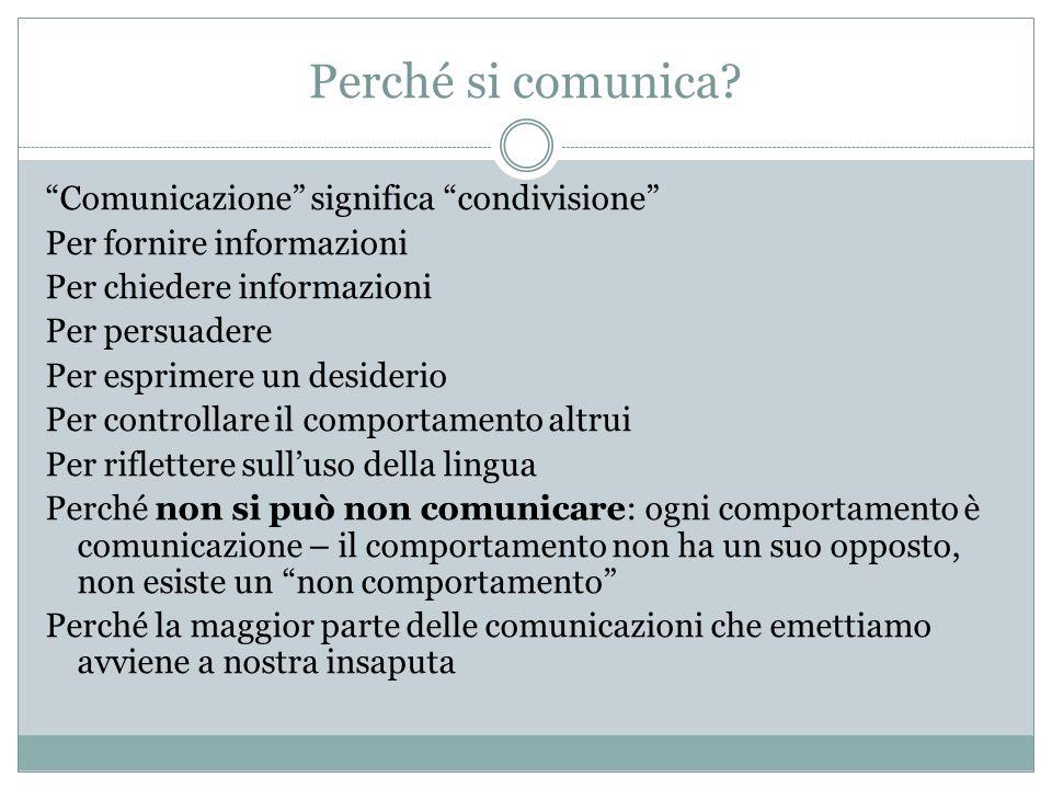 Perché si comunica