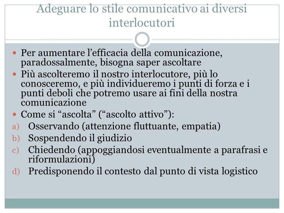 Adeguare lo stile comunicativo ai diversi interlocutori
