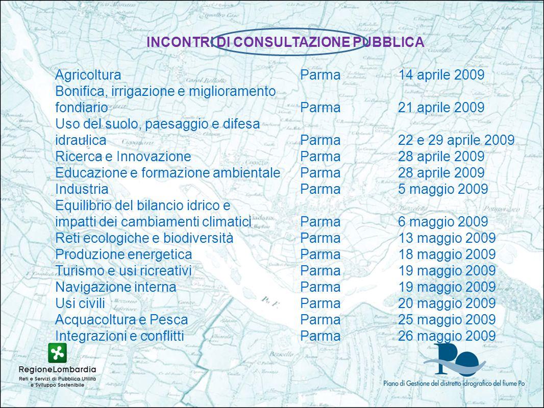 INCONTRI DI CONSULTAZIONE PUBBLICA