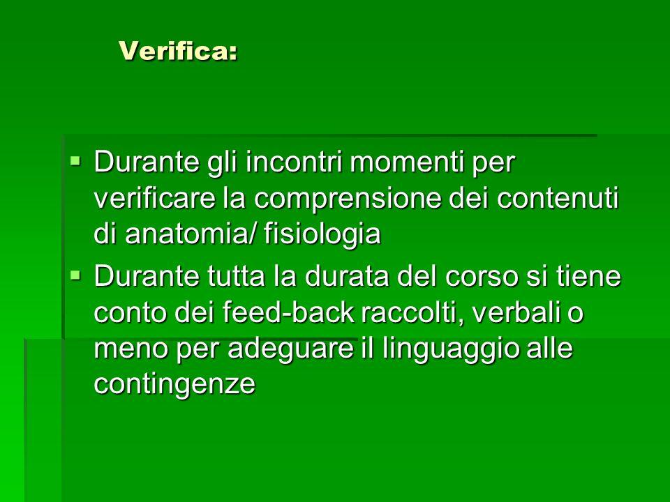 Verifica: Durante gli incontri momenti per verificare la comprensione dei contenuti di anatomia/ fisiologia.