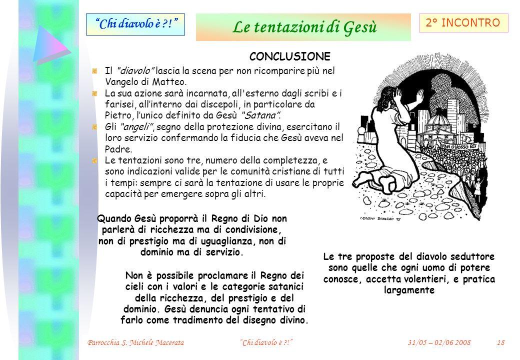 Le tentazioni di Gesù Chi diavolo è ! 2° INCONTRO CONCLUSIONE