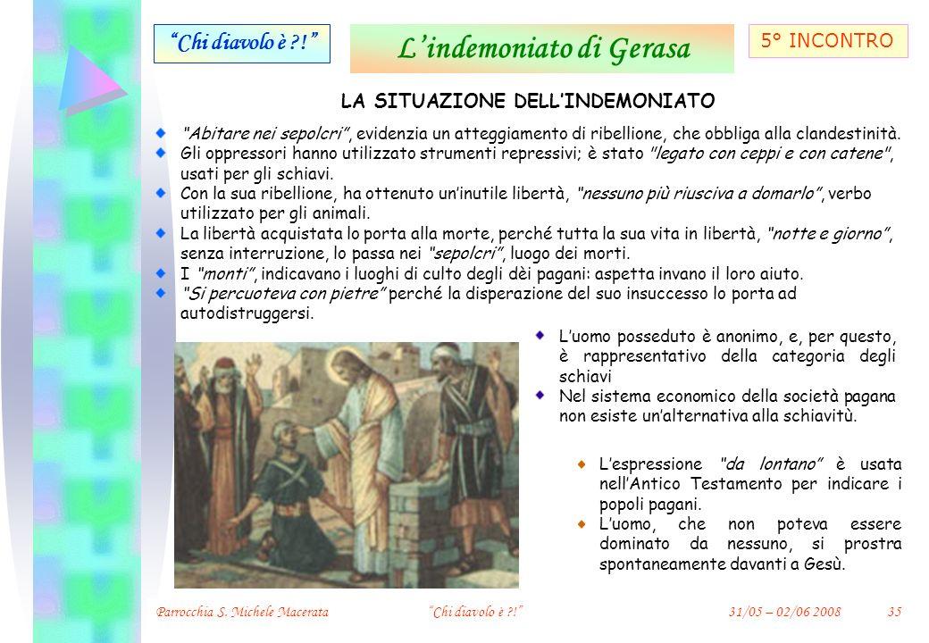 L'indemoniato di Gerasa LA SITUAZIONE DELL'INDEMONIATO