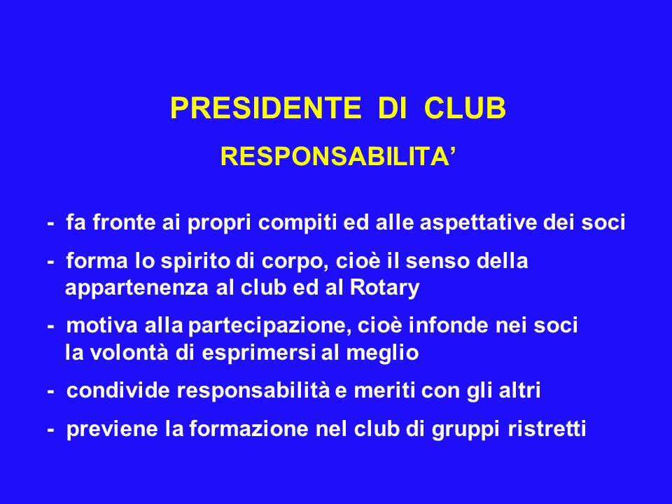 PRESIDENTE DI CLUB RESPONSABILITA'