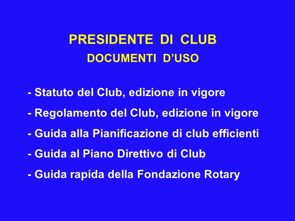 PRESIDENTE DI CLUB DOCUMENTI D'USO