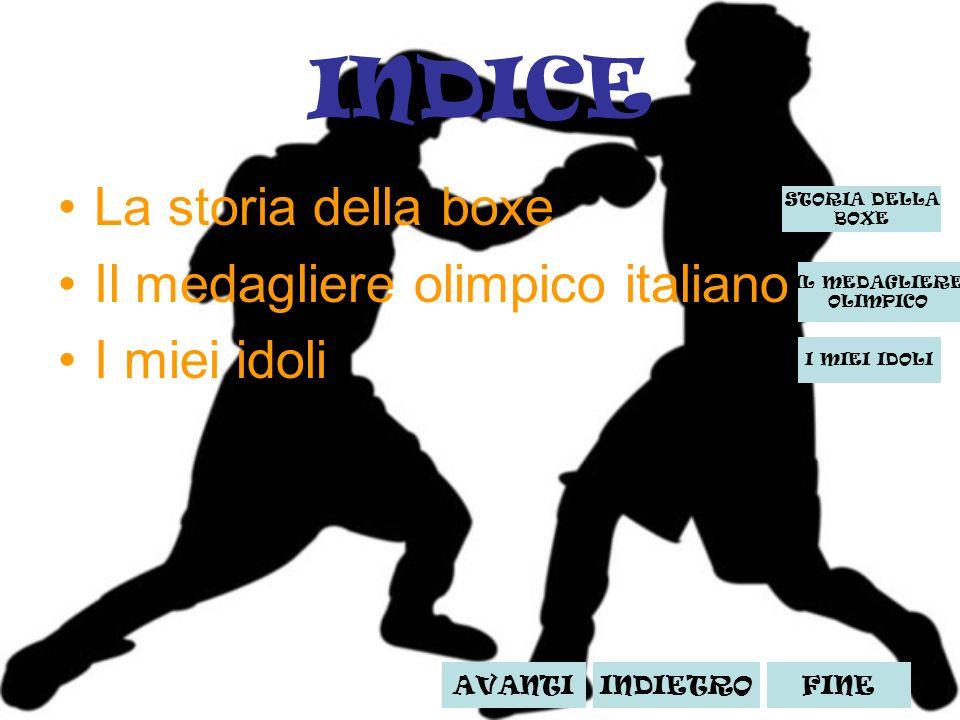 INDICE La storia della boxe Il medagliere olimpico italiano