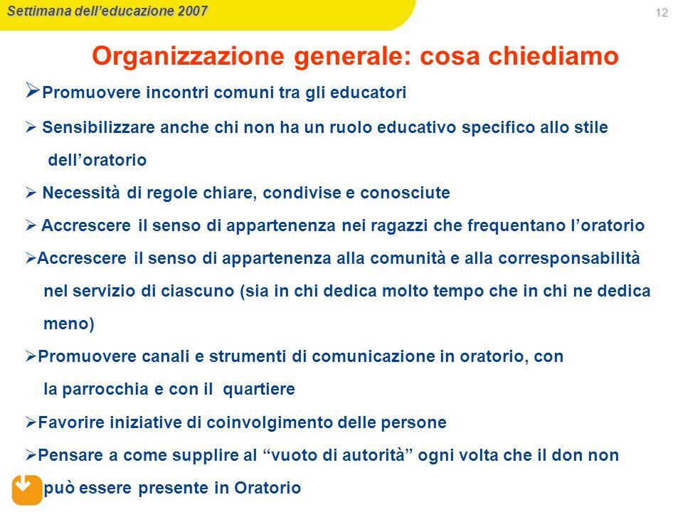 Organizzazione generale: cosa chiediamo