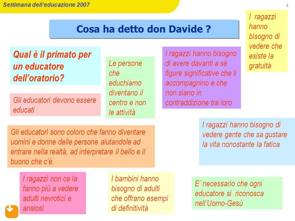 Cosa ha detto don Davide