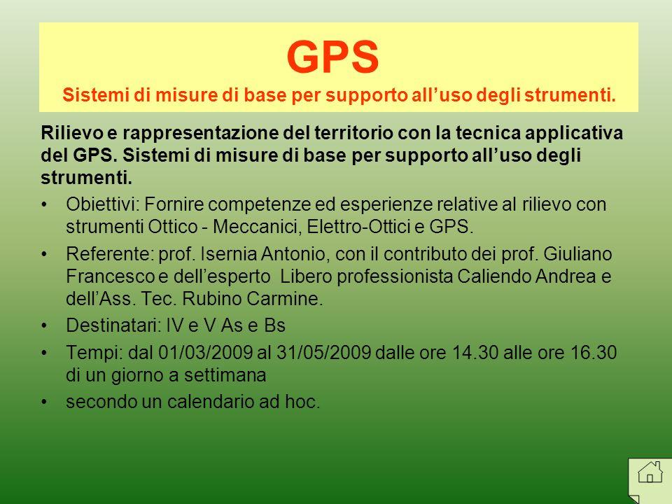 Sistemi di misure di base per supporto all'uso degli strumenti.